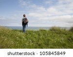 female walker on the isle of... | Shutterstock . vector #105845849