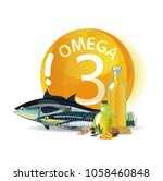 omega 3. polyunsaturated fatty... | Shutterstock .eps vector #1058460848