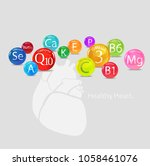 healthy heart. vitamins and... | Shutterstock .eps vector #1058461076