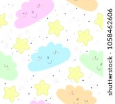 seamless clouds and stars... | Shutterstock .eps vector #1058462606