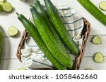 Small photo of Healthy Organic Green English Cucumbers Ready to Eat