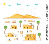flat design arab village... | Shutterstock .eps vector #1058474804