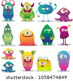 Stock vector big set of funny cartoon happy colorful monsters 1058474849