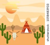 native american people cartoon | Shutterstock .eps vector #1058483933