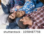 happy family. top view of cute... | Shutterstock . vector #1058487758