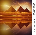reflection of the great pyramids | Shutterstock . vector #1058496080
