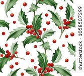 seamless pattern with christmas ... | Shutterstock .eps vector #1058507399