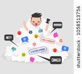 notifications flow. millennial...   Shutterstock .eps vector #1058513756
