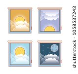 windows with differents hours | Shutterstock .eps vector #1058537243