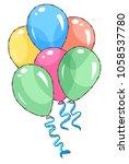 birthday balloons soaring in... | Shutterstock .eps vector #1058537780