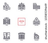 italian cities icons. set vector | Shutterstock .eps vector #1058539649