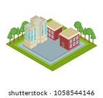 isometric residences buildings   Shutterstock .eps vector #1058544146