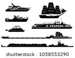 set of isolated industrial tugs ... | Shutterstock .eps vector #1058553290
