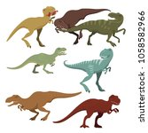 scary dinosaurs vector... | Shutterstock .eps vector #1058582966