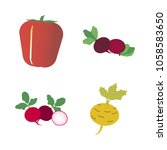 vegetables icon set with 4... | Shutterstock .eps vector #1058583650