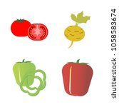 vegetables icon set with 4... | Shutterstock .eps vector #1058583674