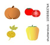 vegetables icon set with 4... | Shutterstock .eps vector #1058583764