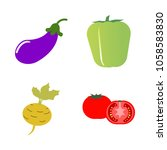 vegetables icon set with 4... | Shutterstock .eps vector #1058583830