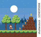pixelated urban videogame... | Shutterstock .eps vector #1058595008