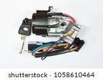 ignition lock with car key.... | Shutterstock . vector #1058610464
