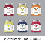six labels fruit jam. labels ... | Shutterstock .eps vector #1058640683
