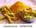 turmeric powder and turmeric...   Shutterstock . vector #105865106