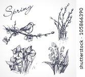Spring Set. Hand Drawn...