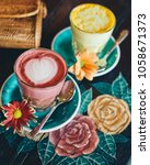 pink latte drink and yellow... | Shutterstock . vector #1058671373