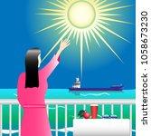 girl in pink on the balcony...   Shutterstock .eps vector #1058673230