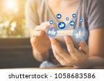 social network sharing and... | Shutterstock . vector #1058683586