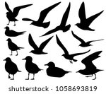 set of sea gull silhouette ... | Shutterstock .eps vector #1058693819