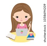 teenage girl or young woman... | Shutterstock .eps vector #1058694209