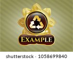 gold emblem with recycle icon... | Shutterstock .eps vector #1058699840