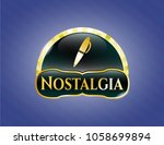 gold badge with pen icon and... | Shutterstock .eps vector #1058699894
