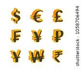 world currency  3d  symbols set.... | Shutterstock . vector #1058706494