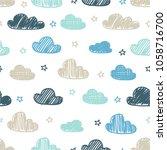 hand drawn seamless pattern... | Shutterstock .eps vector #1058716700