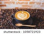 latte art coffee above at... | Shutterstock . vector #1058721923