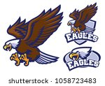Stock vector eagle character set in sport mascot style 1058723483
