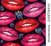 embroidery lips and bilberry.... | Shutterstock .eps vector #1058736914