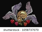 embroidery human skull  angel... | Shutterstock .eps vector #1058737070