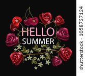 embroidery  hello summer.... | Shutterstock .eps vector #1058737124