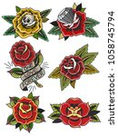 vector roses traditional tattoo ... | Shutterstock .eps vector #1058745794