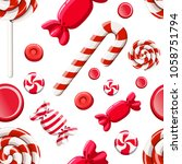 seamless pattern of red... | Shutterstock .eps vector #1058751794