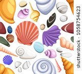 colorful tropical shells... | Shutterstock .eps vector #1058754623