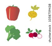 vegetables icon set with 4... | Shutterstock .eps vector #1058759438