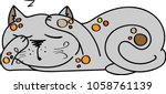 sleeping gray cat with red... | Shutterstock .eps vector #1058761139