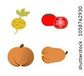 vegetables icon set with 4... | Shutterstock .eps vector #1058762930