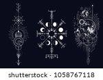 vector illustration set of moon ... | Shutterstock .eps vector #1058767118