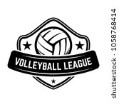 emblem template with volleyball ... | Shutterstock .eps vector #1058768414