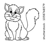 coloring book outlined cat | Shutterstock .eps vector #1058768579